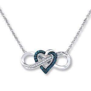 Diamond heart infinity necklace